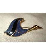 j22 Blue Enamel Flying Goose Bird Pin Brooch - $4.98