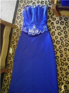Lee Mori Blue Sequin Gown Prom Dress 4pc Sz 3/4 Og $350