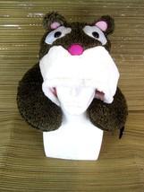 Travel Neck Pillow with drawstring Hoodie Animal plush  w luggage hook n... - $14.68