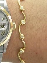 "18Kt Round Cut Diamond Heart Shape Yellow Gold Bracelet .15Ct 6.5"" - $742.50"
