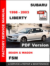 Subaru Liberty 1998 1999 2000 2001 2002 2003 Oem Service Repair Factory Manual - $14.95