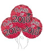 "Party Balloons Graduation Cap Class of 2018 Red 3 Pack 17"" Event Supplie... - $19.99"