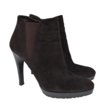 Stuart Weitzman Brown Suede Leather Zip Up Fashion Heel Boots Women's Sz 8 - $44.99