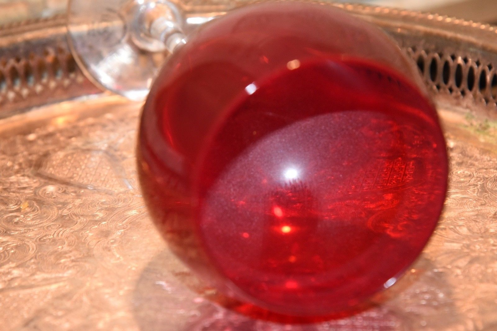 Lenox Holiday Gems Ruby Red Balloon Crystal Goblet 14 oz. Clear Stems Set of 3