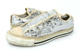 Converse All Star Womens 5.5 Silver Sequins Sneakers Flats Slip On Shoes... - $34.99