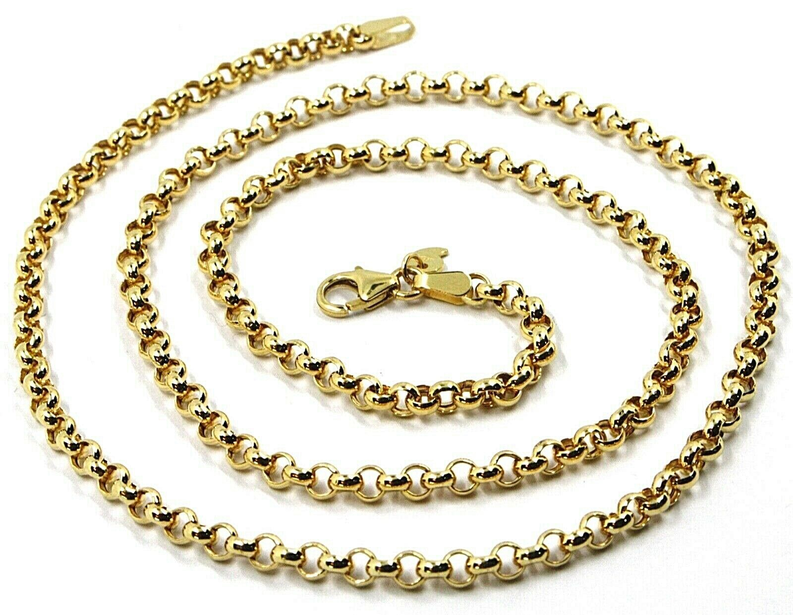 9K YELLOW GOLD CHAIN ROLO CIRCLE LINKS 3.5 MM THICKNESS, 24 INCHES, 60 CM