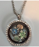 Necklace Floating Silver Flower Charms Pendant Jewelry Gift Blue Green Y... - $17.99