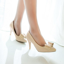 84h052 elegant pointy pump w bow top in candy color, Size 4-8.5, beige - $48.80