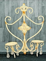 Shabby Chic White Wash Wrought Iron 2 Candle Holder Chandelier Prisms 16... - $48.17