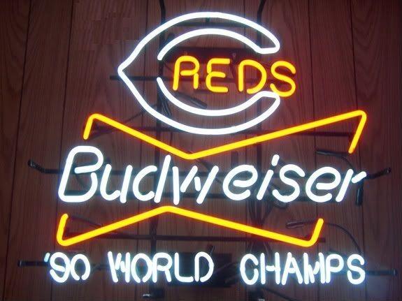 """Rare New Budweiser Cincinnati Reds 90' World Champions Neon Sign 24""""x20"""""""