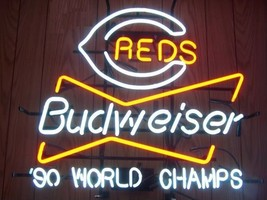 "Rare New Budweiser Cincinnati Reds 90' World Champions Neon Sign 24""x20"" - $194.00"