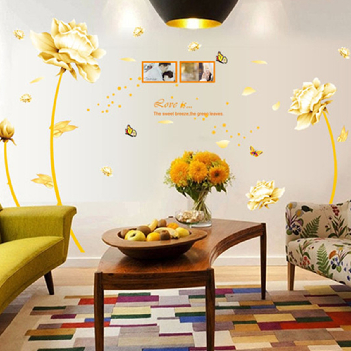 Primary image for Gold Flower Decal Mural PVC Wall Sticker Removable Art Wall Living Room Decor