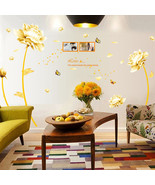 Gold Flower Decal Mural PVC Wall Sticker Removable Art Wall Living Room Decor - $11.98