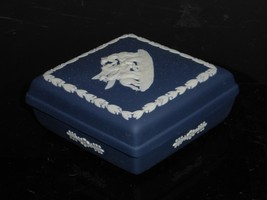 Vintage Wedgwood Jasperware Dark Blue Triangular Trinket Box - $29.00