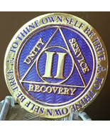 2 Year AA Medallion Purple Gold Plated Alcoholics Anonymous Sobriety Chi... - £13.19 GBP