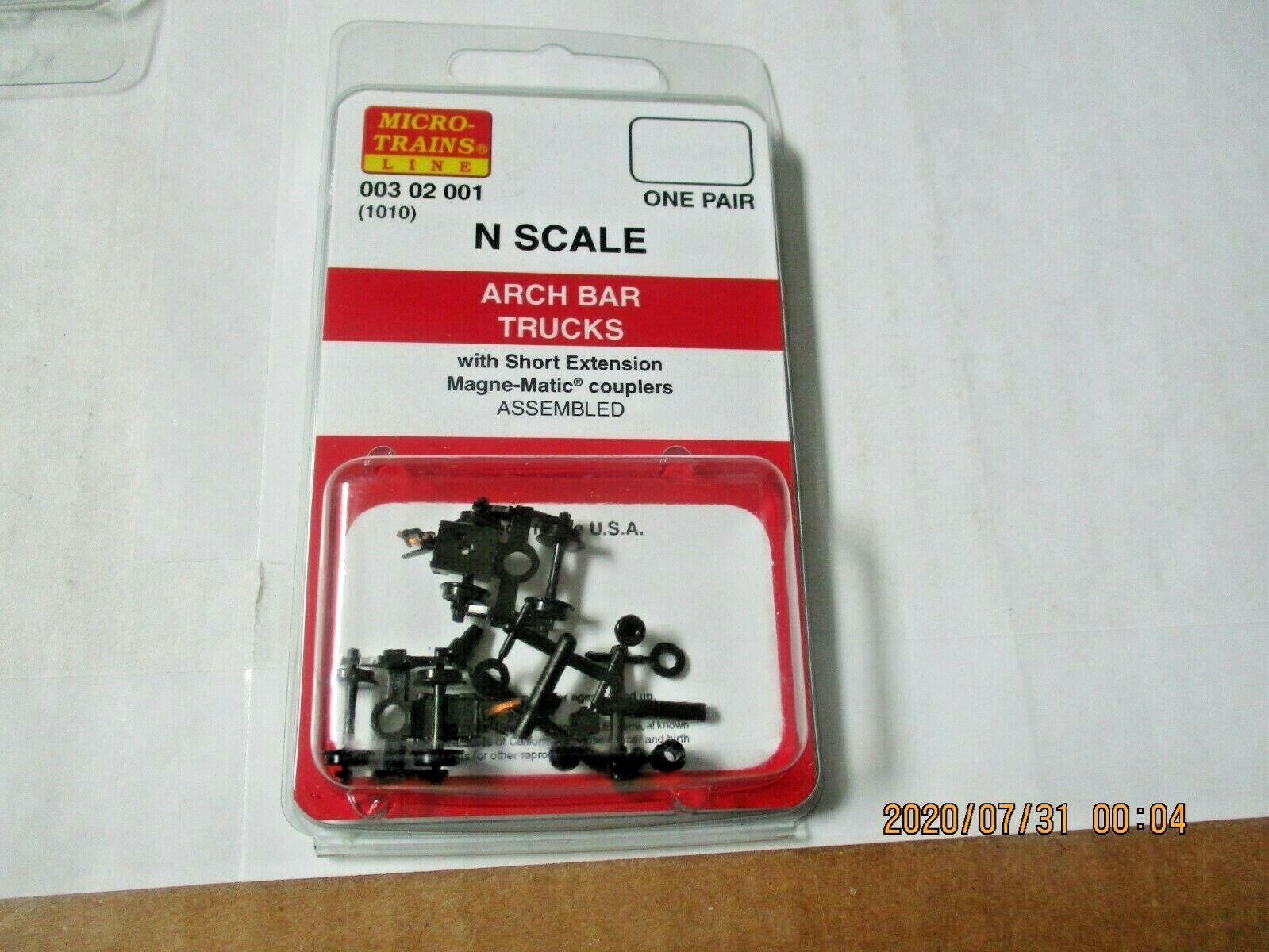 Micro-Trains Stock # 00302001 (1010)  Arch Bar Trucks Short Extension N-Scale