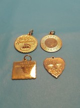 Vintage Antique Vermeil Gold Over Silver Anniversary Charm Champagne You... - $7.91+
