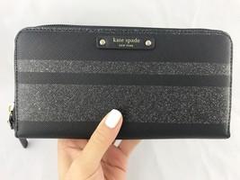 Kate Spade Haven Lane Neda Zip Around Wallet Lacey Black Glitter Stripe ... - $79.99