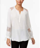 Fever Women's White Lace-trim Tie-cuff Blouse, Medium - $26.72