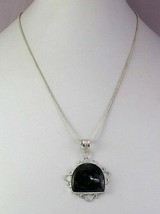Moss Agate Silver Overlay Handmade Pendant With Chain R-1-23 - $4.49