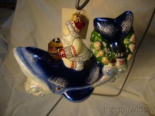 Vaillancourt Folk Art Nantucket Santa on Whale Ornament Christmas