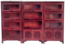 Dollhouse Miniature Lawyers Bookcase Set, 3 pc, Mahogany Finish #T3869 - $61.47