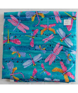 Fabric, Shamash & Sons, Multicolor Dragonflies on Blue Green, 44 Wide 2 ... - $14.90