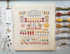 Garden cross stitch Sampler, cross stitch kit, embroidery sampler, allot... - $27.00