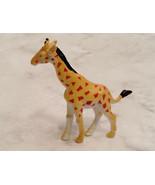 Miniature Yellow Red And Black Giraffe Animal Figurine - $2.96