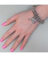 Playboy Bracelet Bunny Heart Lock and Key Charm Pink Swarovski Crystal S... - $14.69
