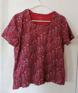 White Stag Pink/Red Floral Pattern Top XL - $9.00