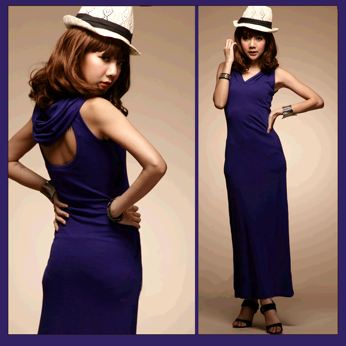 Violet sleeveless v neck hoodiie long pencil dress