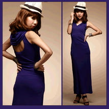 Violet Open Back Casual Sleeveless Hoodie Tank Dress for Comfort Wear image 1