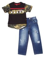 Boys 2 Pc Set Short Sleeves Top With Jeans - $14.99