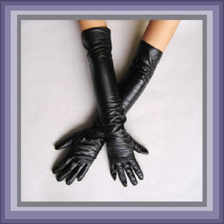 Faux Leather Elbow Length Long Black Evening Dress Gloves