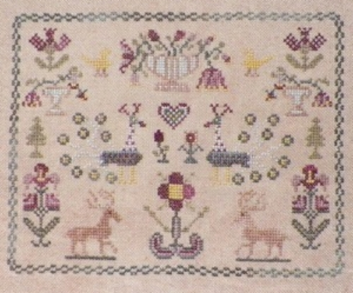 Flowers and Peacock Sampler cross stitch chart Dames Of The Needle