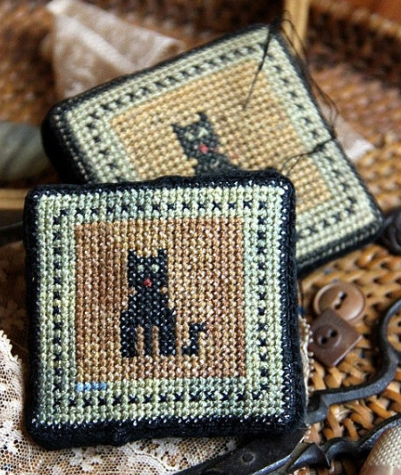 Le Meow Antique Pincushion cross stitch chart Heartstring Samplery