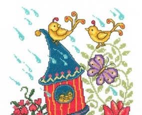 Spring Birdhouse cross stitch chart Imaginating