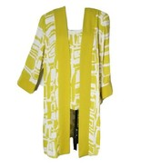 EUC Maya Brooke Women's Geo Print Tank & Duster Chartreuse Green 2pc Set... - $42.53