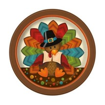 "Cute Turkey Thanksgiving Pilgrim 8 Ct 7"" Dessert Cake Plates - $2.99"