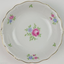 Forest China Rambler Pattern Dessert Bowl Floral Flower Pink Blue Gold Trim - $5.99