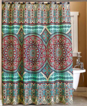 Teal Shower Curtain Medallion Fabric Bathroom Decorative Accessories for... - $18.40