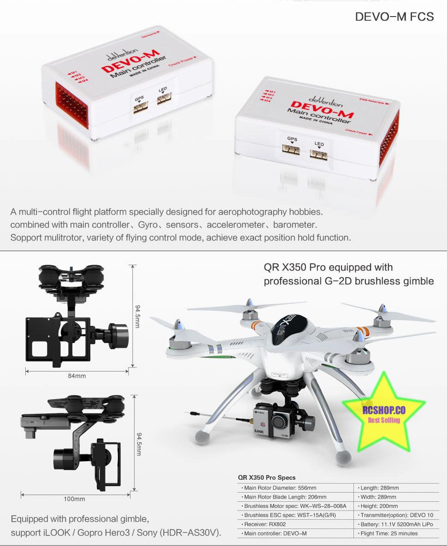 Walkera QR X350 Pro Quadcopter GPS FPV Devo F7 1080P Camera Drone Deluxe Edition