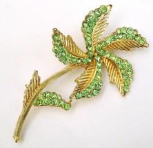 Vintage BSK Pale Green Rhinestone Flower Pin Brooch - $29.99