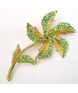 Vintage BSK Pale Green Rhinestone Flower Pin Brooch - $29.99