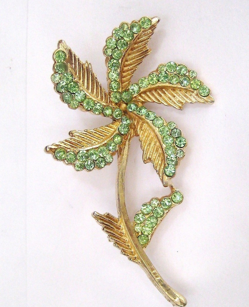Vintage BSK Pale Green Rhinestone Flower Pin Brooch