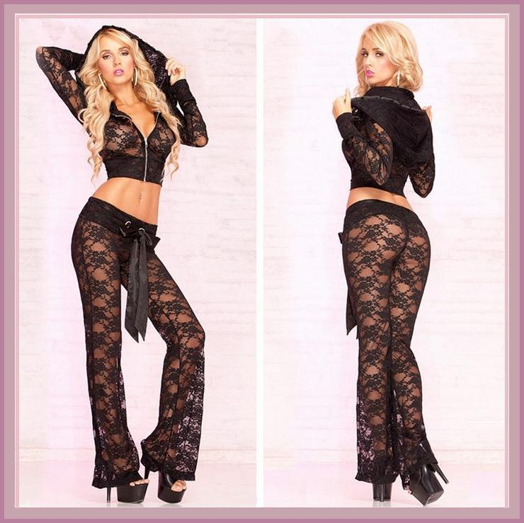Black Transparent Long Sleeve Stretch Lace Lounger Zip Hoodie Jacket Pants Set