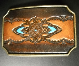 Southwest Native American Design Belt Buckle Brass Leather Turquoise Accents - $13.99