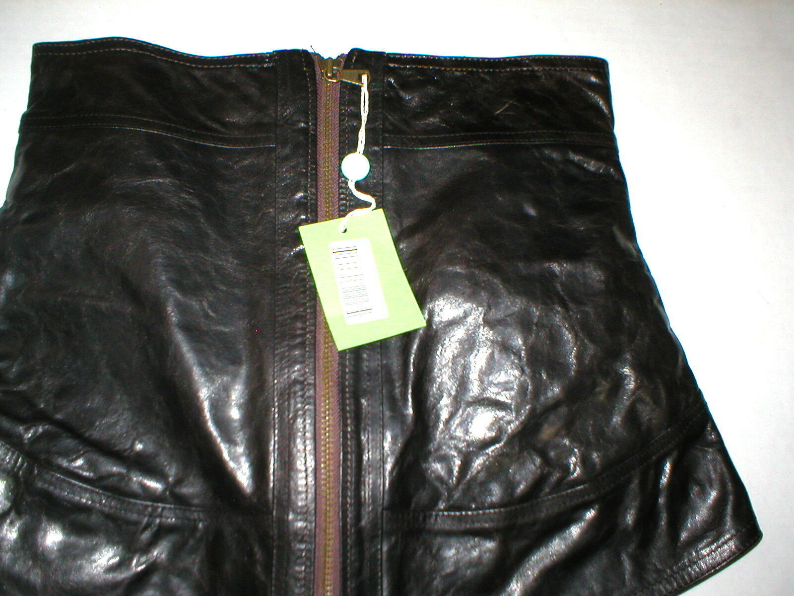 New NWT Womens 8 Leather Skirt Designer Front Zipper Black Italy 44 Colle Privee