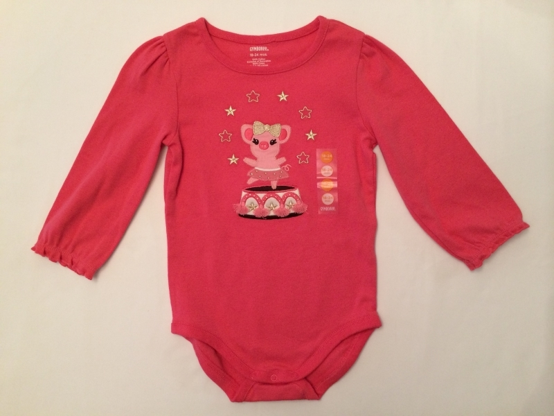 Primary image for GYMBOREE NWT Girls Pink Sparkle Circus Piglet Bodysuit Tee Top Size 18-24 Months